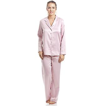 Camille Pink Plain Satin Pyjama Set
