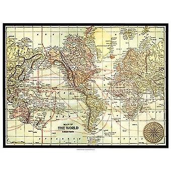 Världskarta med svart ram affisch Skriv av Vision studio (25 x 19)