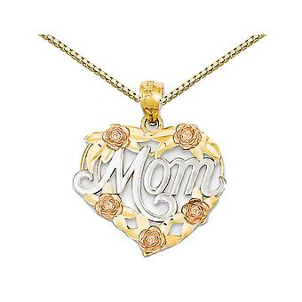Mom Heart Pendant Necklace in 14K Yellow and White Gold