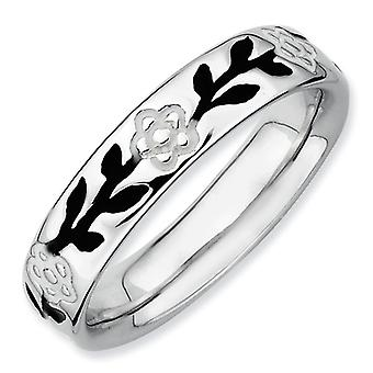 Sterling Silver Patterned White Enamel Black Enamel Rhodium-plated Stackable Expressions Polished Enameled Flower Ring -
