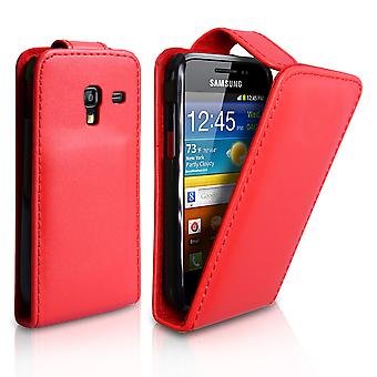 Yousave Accessories Samsung Galaxy Ace Plus Leather-Effect Flip Case - Red