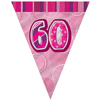 Unique Party Pink 60 Glitz Pennant Bunting