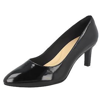 Ladies Clarks Textured Court Shoes Calla Rose - Black Patent - UK Size 6.5D - EU Size 40 - US Size 9M
