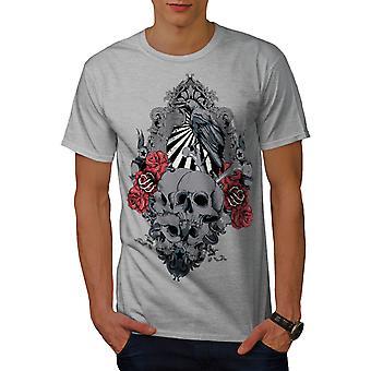 Rose Krähe gruselige Schädel Männer graut-Hemd   Wellcoda