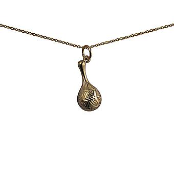 9ct Gold 20x10mm Maracas Pendant with a cable Chain 16 inches Only Suitable for Children