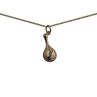 9ct Złota 20x10mm marakasy wisiorek z kablem łańcucha 16 cali nadaje się tylko dla dzieci