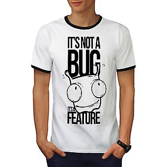 Not A Bug Geek Men White / BlackRinger T-shirt | Wellcoda