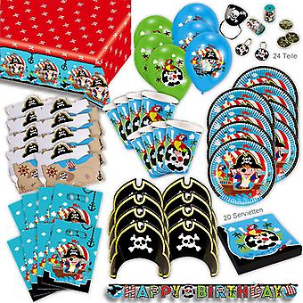 Pirates toddler party set XL 100-teilig for 8 guests pirates decoration party package