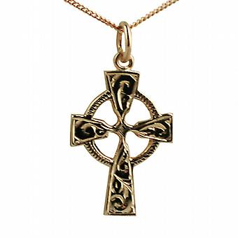 9ct Rose Gold 23x16mm hand engraved Celtic Cross with a curb Chain 16 inches Only Suitable for Children