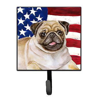 Carolines Treasures  BB9718SH4 Fawn Pug Patriotic Leash or Key Holder