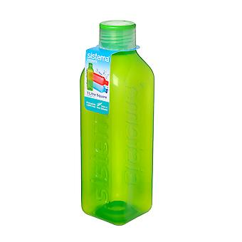 Sistema Hydrate 1L Square Drink Bottle, Lime Green