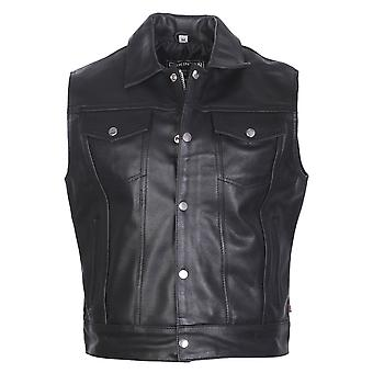 Attitude Clothing Cut-Off Leather Biker Jacket