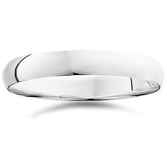 4mm cúpula alta banda de boda pulido 950 platino