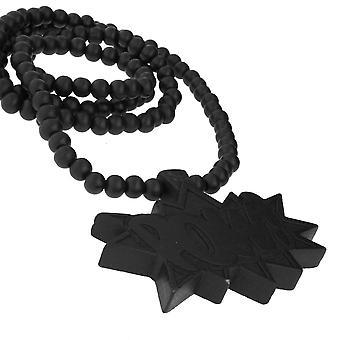Legno stile della perla collana - POW nero