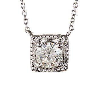 Forever Classic rund 6,0 mm Moissanite Solitaire Square formad halsband, 0.80 CT DEW