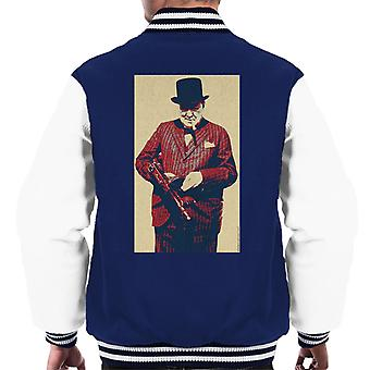Winston Churchill British Prime Minister Thompson Machine Gun Cigar Second World War Men's Varsity Jacket