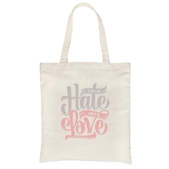 Hate Turn Love Natural Canvas Shoulder Bag