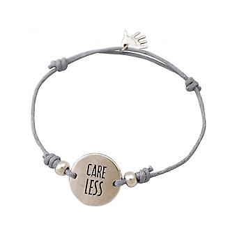 Women - bracelet - engraved - CARE LESS - silver - light grey