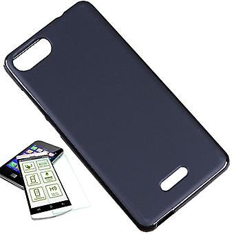 Silikoncase black + 0.3 H9 tempered glass for WIKO Tommy 3 bag shell new