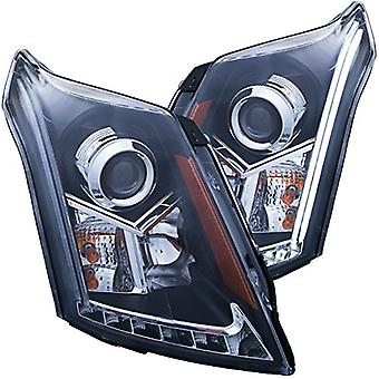 AnzoUSA 111308 Black/Clear/Amber Plank Style Projector Headlight for Cadillac SRX