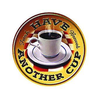 Café tiene otra taza redonda muestra del Metal