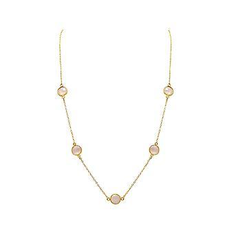 Gemshine - ladies - necklace - 925 sterling silver - gold plated - Rose Quartz - 60 cm