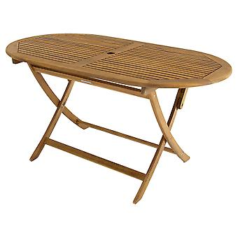 Charles Bentley FSC Certified Acacia Wooden Furniture Oval Table with Central Parasol Hole - D 52Mm