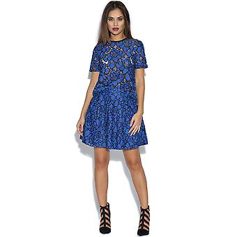 Girls On Film Cobalt Blue Floral Lace Skirt