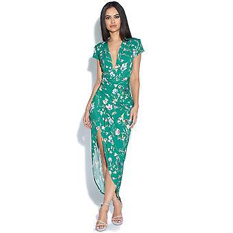 Cap Sleeve Green Floral Print Plunge Dress