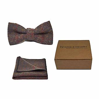 Heritage Check Earth Brown Bow Tie & Pocket Square Set - Tweed, Plaid Country Look | Boxed