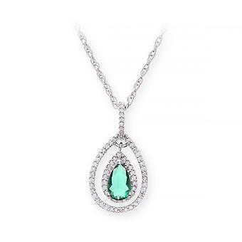 Collier en argent Sterling Star anneaux de mariage avec pendentif pierre gemme Emeraude et diamants
