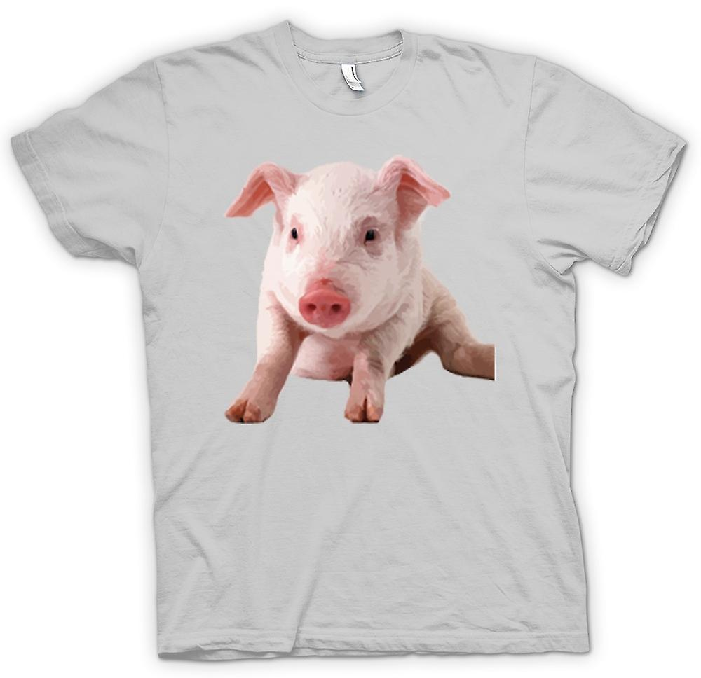 Mens T-shirt - Cute Piglet Pig Portrait
