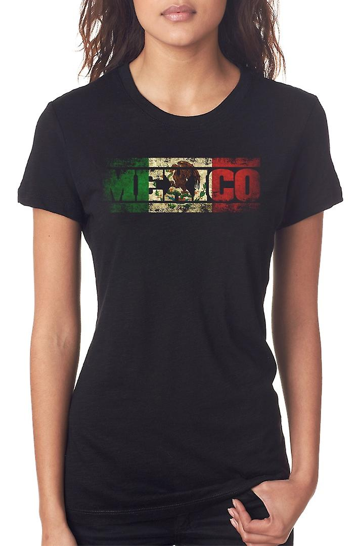 Mexico Mexican Flag - Words Ladies T Shirt