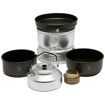 Nuovo TRANGIA 25-6 Non Stick Cooker & Kettle Set Camping Cooking Equipment Silver