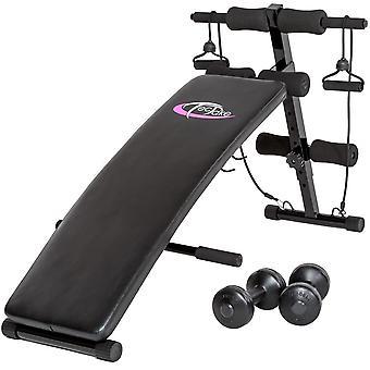 Banc de musculation abdominaux pliable haltères + cordes fitness sport 0708014