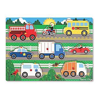 Melissa & Doug 19051 véhicules en bois Peg Puzzle (8 mcx)