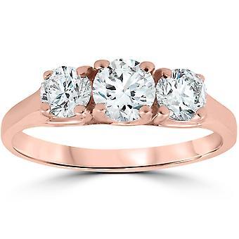 1ct drei steinerne Solitär Diamant Jubiläum Verlobungsring 14k Rose Gold