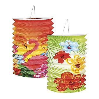 Packung mit 2 Hibiscus Papier Laternen BBQ Sommer Party Feier Gartendekoration