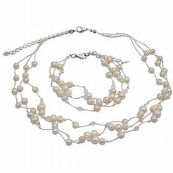 Ожерелье браслет слоновой кости жемчужинами ж / Swarovski прозрачные кристаллы