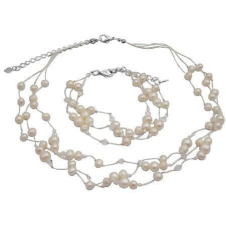Necklace Bracelet Ivory Freshwater Pearls w/ Swarovski Clear Crystals