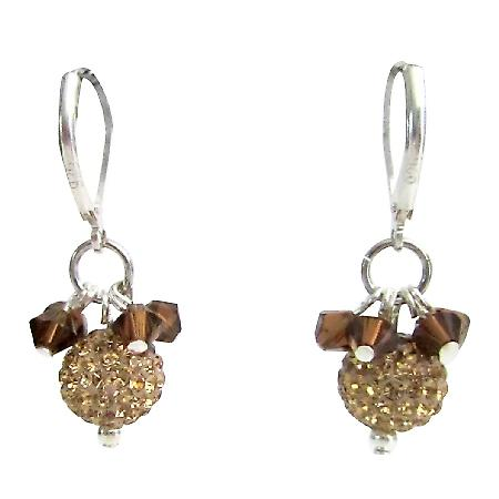 Colorado Rhinestones Pave Ball & Smoked Topaz Crystal Earrings