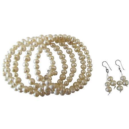 Five Stranded Freshwater Ivory Cream Pearls Bracelets & Earrings Set