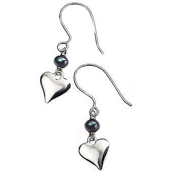 Beginnings Freshwater Pearl Heart Earrings - Black/Silver