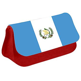 Guatemala Flag Printed Design Pencil Case for Stationary/Cosmetic - 0069 (Red) by i-Tronixs
