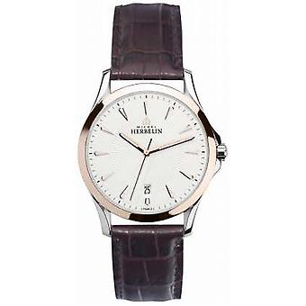 Michel Herbelin Mens Lyre Steel & Rose Gold, Leather 12213/TR12MA Watch