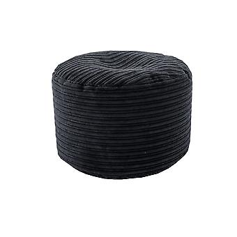 Black Round Bean Bag Footstool Pouffe Seat in Soft Jumbo Cord Fabric