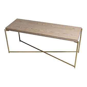 Gillmore Space Weathered Oak Low Console Media Table With Brass Cross Base