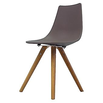Fusion Living Iconic Slate Brown Plastic Dining Chair With Light Wood Legs Fusion Living Iconic