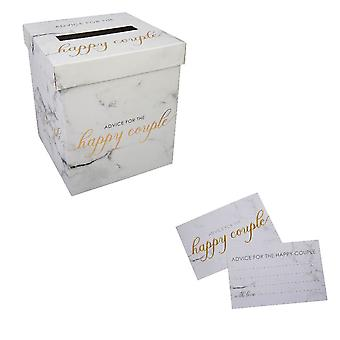 Scripted Marble Wedding Wishes Postbox x 1 and Set of Cards x 25