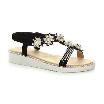 Ajvani womens low wedge heel flatform diamante pearl t-bar slingback sandals